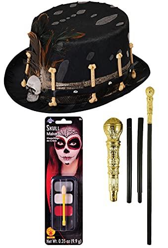 Sombrero de huesos de estilo vud negro dorado con forma de bastn de proxeneta crneo de maquillaje de Halloween