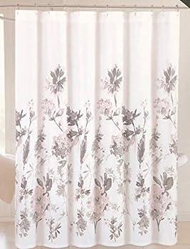 Giacomo Tahari Shower Curtain Gray Pink Peach and White