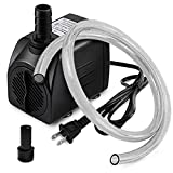 PULACO 10W 160GPH Submersible Pump with 3.3 ft Tubing for Aquariums, Fish Tank, Pond Fountain, Statuary, Hydroponics, Water Feature, Indoor Fountains