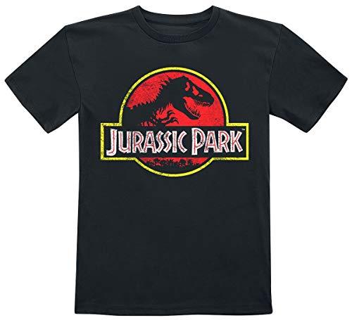 Jurassic Park Distressed Logo Unisex T-Shirt Nero 146 100% Cotone