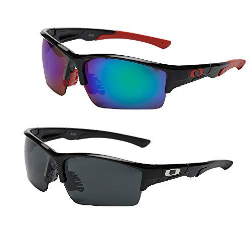 SaNgaiMEi 2 Piezas Gafas de Ciclismo Polarizadas Hombre Mujer Gafas de Sol para Ciclismo Bicicleta Running Deportes Protección UV 400 Anti Viento