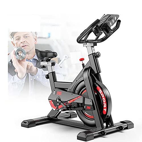 WASDY Bicicleta Estaticas,Bicicleta Spinning,Bicicleta Estatica con Monitor De Frecuencia Cardíaca/Transmisión por Correa/Volante/Asiento Ajustable para Uso En El Hogar Y El Gimnasio