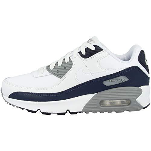 Nike Air Max 90 LTR Big Kids' Shoe, Scarpe da Corsa Unisex-Bambini, White/White-Particle Grey-Obsidian, 38 EU