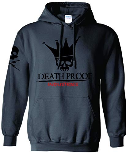 Death Proof Industries Original DPI Speed Shop Hooded Sweatshirt Hoodie (X-Large, Charcoal)