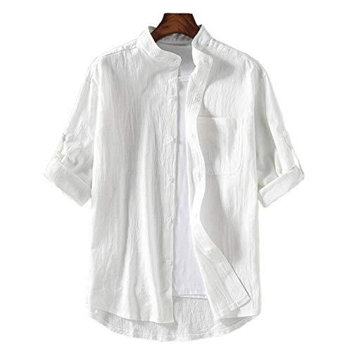 IUwnHceE 2021 Nueva Camisa de la Primavera de China Estilo de la Manga Corta de los Hombres Ajuste Delgado de Lino Solid Casual Media Manga de la Ropa M-5XL Enfriar Equipo del Verano