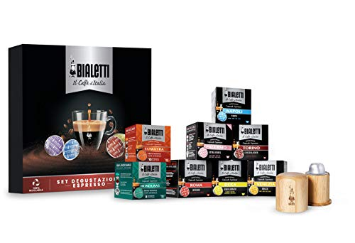Bialetti Set Degustazione Espresso, 120 Capsule Caffè D\'Italia Gusti Vari con Apri Capsule in Legno