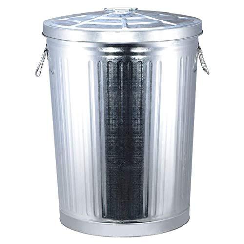 BDD Cubo de Basura, Cubo de Hojalata Retro para el Hogar Cubo de Basura de Gran Capacidad para Exteriores Cubo de Alenamiento Industrial con Tapa Cubo de Alenamiento Cubo de Residuos,75 Litros