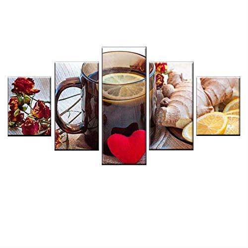 DGGDVP 5-delige set fruit, gember, citroen, thee, HD-kunstdruk, canvas, voor keuken, wand, kunst, foto, familie, restaurant, decoratie 30x40cmx2 30x60cmx2 30x80cmx1 Met frame
