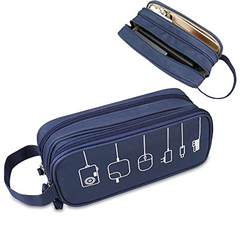 Electronics Organizer Travel Cable Cord Case Sleeve Soft Carrying Accessories Storage Bag Portable Double Layers All-in-One Pouch for Healthcare Grooming Kit USB Drive Charger Earphone,Zipper Wallet