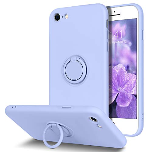 BENTOBEN iPhone SE 2020 Hülle Silikon Case Mit Ring Halter, iPhone 7/8 Handyhülle Slim Kratzfest weiche Flüssigsilikon Gummi mit innem Microfaser Tuch Futter iPhone SE 2/7/8 Lila
