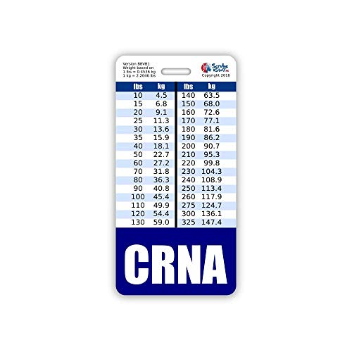 CRNA Badge Buddy Vertical w/Height & Weight Conversion Charts (Standard, Navy)
