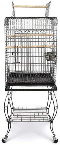 Pet's Solution Gabbia pappagalli voliera per Uccelli Pappagallo parroccheti con Carrello (Nero)