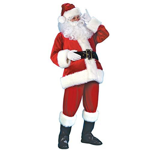 NUOBESTY - Disfraz de Pap Noel para Hombre, 7 Piezas, Disfraz de Pap Noel con Barba y Peluca, Disfraz de Navidad para Adultos