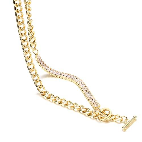 YUANBOO Lujo 18K Chapado en Oro circonia cúbica Azul Collar de Collares Cuadrados for Mujeres de Cristal Completo Antiguo Testamento Collar de Gargantilla en Oro