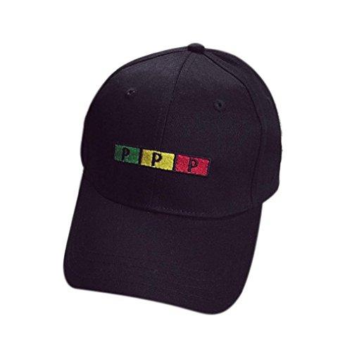 Voberry Men Womens Cotton Baseball Cap Boys Girls Snapback Hip Hop Flat Hat (Black 1)
