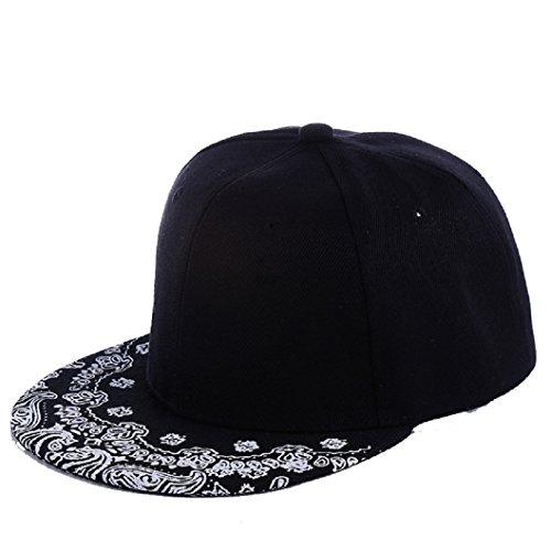 tongshi Paisley Nero Snapback Bboy Hiphop Cappello da Baseball Registrabile della Protezione Unisex