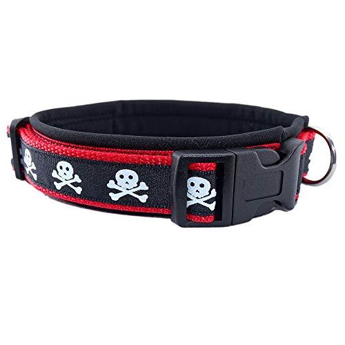 Eve Couture Hundehalsband Halsband Hund Rockabilly Rock´n Roll verstellbar gepolstert Skull Totenkopf rot schwarz 30mm (XS (ca. 24-30cm)