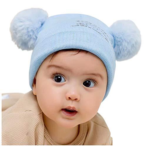 TWIFER Sombreros de Punto de Bebe Niños Niña Invierno Orejeras Calientes Gorras Pelota de Felpa Mantenga el Sombrero Caliente Gorras Bebé Recién Nacido Caliente