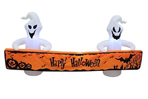 BZB Goods Aufblasbare weiße Geister mit orangefarbenem Banner für den Außenbereich, für den Innen- und Außenbereich, 2,4 m lang