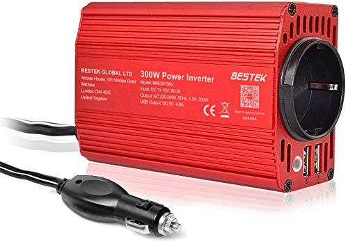 Inversor 12v a 220v - 240V 300W BESTEK Onda Sinusoidal Modificada Transformador 12v a 220v Conversor con 2 Puertos USB (5v / 2.4A) y 1 Enchufe de AC (Diseño de Aluminio, con Mechero de Coche) Rojo