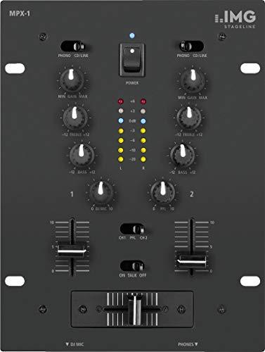 IMG Stageline MPX-1/BK Stereo-DJ-Mischpult, 2 Eingangskanäle, schwarz