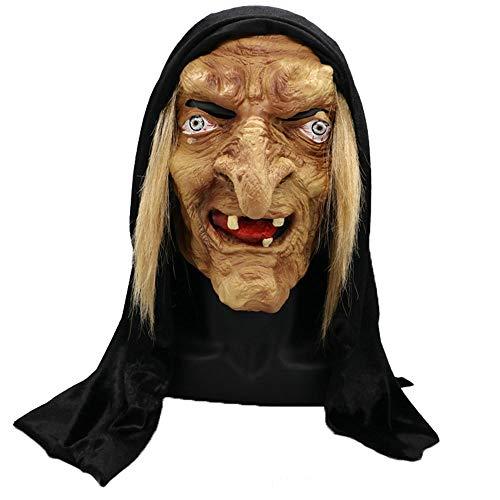 Halloween masker, oude heks Masker Met Haar En Hoofddoek Latex Props Scary Latex Volledige Head Maskers