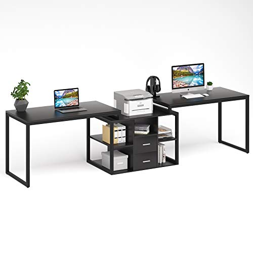Tribesigns 114 Inch Computer Desk for Two Person, Large Double Workstation with Printer Stand, Extra Long Office Desk with File Cabinet & Open Shelves for Home Office, All Black