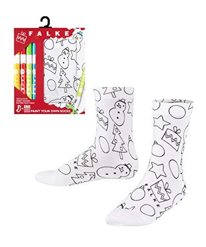 FALKE Unisex Kinder X-Mas Paint Your Own Socken, weiss (white 2000), 35-38