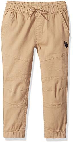 U.S. Polo Assn. Toddler Boy's Jogger Pants, Flex Moto Twill Dark Khaki, 2T