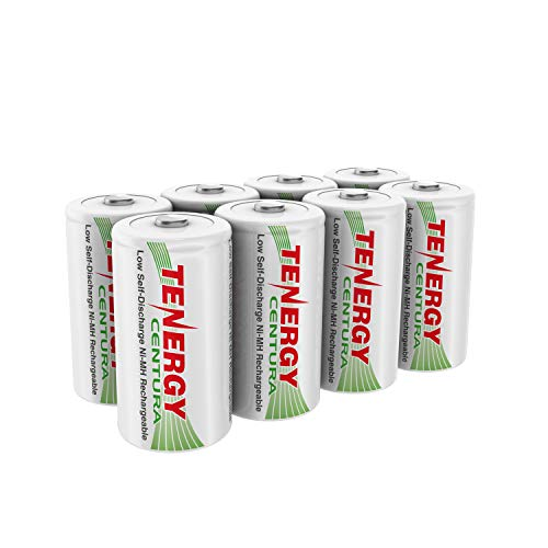 Tenergy Centura NiMH Rechargeable C Batteries, 4000mAh C Battery, Low Self Discharge C Cell Battery, Pre-Charged C Size Battery, 8 Pcs