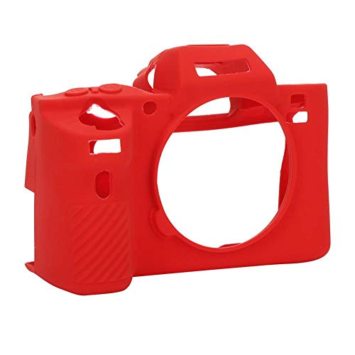 Mugast Carcasa de cámara Digital, pequeña cámara Digital portátil Protector de Marco Protector de Silicona Suave Cubierta de Carcasa, para Sony A72/A7R2/A7S2(Rojo)