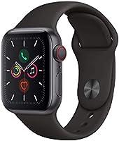 Apple Watch Series 5 GPS + celular – 40 mm Space Gray aluminio caja con correa deportiva negra (renovado)