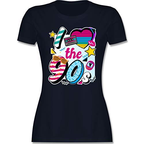 Statement - I Love The 90s bunt - XL - Navy Blau - 90s Damen - L191 - Tailliertes Tshirt für Damen und Frauen T-Shirt