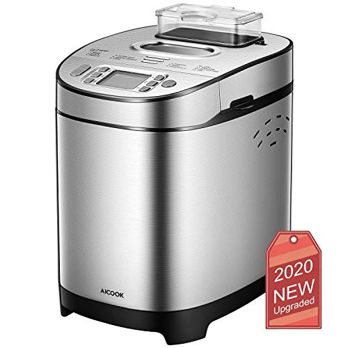 [2020 Upgraded] Stainless Steel Bread Machine AICOOK, 2LB Programmable Bread Maker with Fruit Nut Dispenser, Nonstick Ceramic Pan, 3 Crust Colors & 2 Loaf Sizes, 13-in-1, Gluten-Free Setting, Reserve& Keep Warm Set