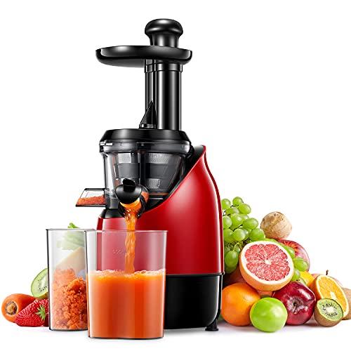 Estrattore di Succo a Frutta e Verdura Spremiagrumi Lento Senza BPA con Motore Silenzioso Bicchiere per Succo Spazzola per la Pulizia Adatto a Tutti i Tipi di Frutta e Verdura