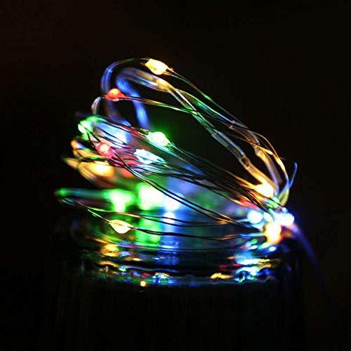 QPOWY LED Guirnalda Luces de Cadena Lámpara de luz de Hadas de Alambre de Cobre para el árbol de Navidad Fiesta de Bodas Decoración Interior 10Pcs 2M 5M