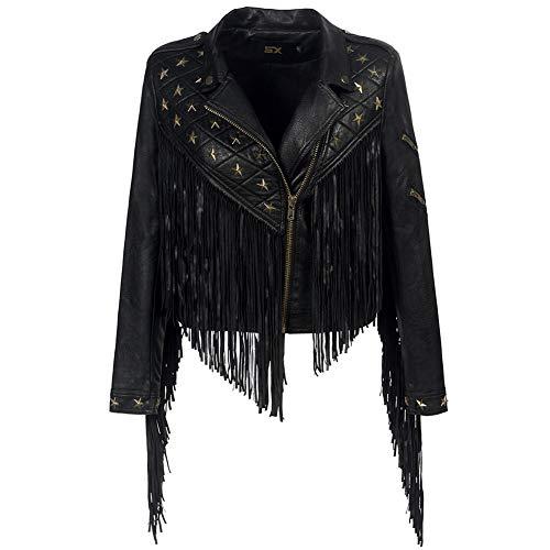 Sijux Mujeres Lady Black Punk Polo Collar con Flecos Remache De Cuero PU Chaqueta Corta Abrigo con Cremallera Famale Manga Larga Estilo Casual Outwear,Black,S