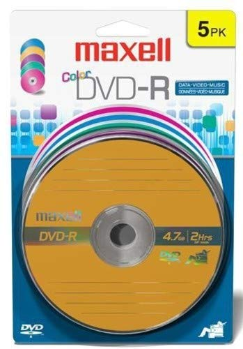 Maxell 638033 Multi Color Superior Archival Life for Storing Valuable Data -R Write Once DVD-R 4.7 Gb Card 5 Disc Pack