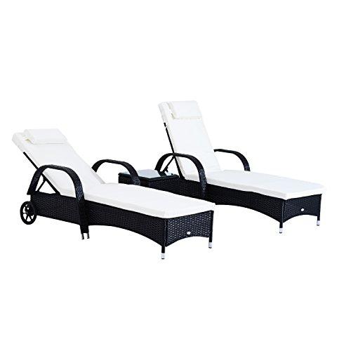 Outsunny Set de 2 Tumbonas Chaise Longue + 1 Mesa de Ratan...