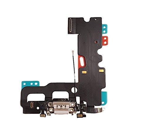 Smartex Conector de Carga de Repuesto Compatible con iPhone 7 Blanco – Dock de repeusto con Cable Flex, Altavoz, Antena, Micrófono y Conexión Botón de Inicio.