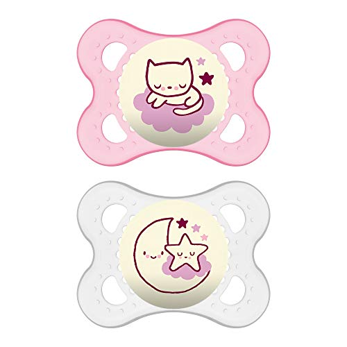 MAM Night Pacifiers (2 Pack, 1 Sterilizing Pacifier Case), MAM Pacifiers 0-6 Months for Baby Girl, Best Pacifier for Breastfed Babies, Glow in the Dark Pacifier, Baby Pacifiers