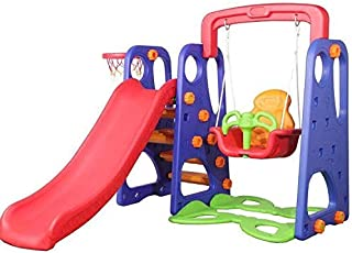 Fitness World 3 in 1 swing and slide With Basketball Game, Multi Color - 100100000116