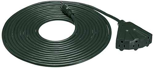 Amazon Basics 25-Foot 3-Prong Vinyl Indoor/Outdoor Extension Cord with 3 Outlets - 13 Amps, 1625 Watts, 125 VAC - Green
