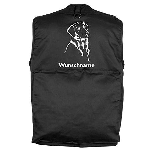 Tierisch-tolle Geschenke Flat Coated Retriever - Hundesportweste mit Rückentasche und Namen (L)