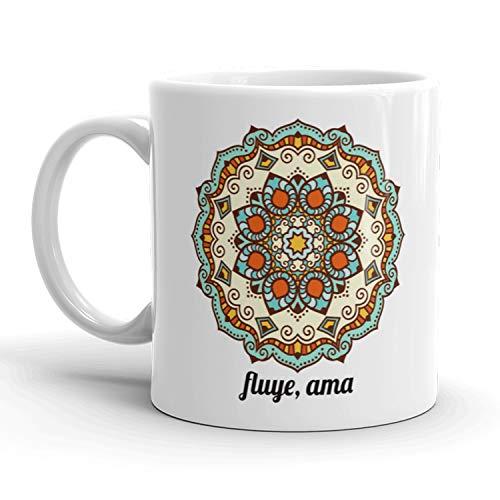 Kembilove Tazas de café diseño de Mándala – Taza de Desayuno de Mándalas con Mensaje Fluye y Ama – Taza Original y Divertida con Diseño Espiritual – Tazas de Cerámica de 350 ml