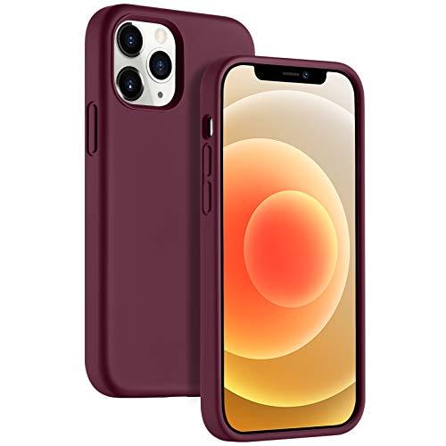 Upeak Hülle Hülle Kompatibel mit iPhone 12 & iPhone 12 Pro, Liquid Silikon Handyhülle Schutzhülle 6.1 Inches, Fuchsie