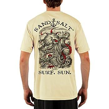 SAND.SALT.SURF.SUN Octopus Treasure Men s UPF 50+ UV Sun Protection Performance Short Sleeve T-Shirt X-Large Pale Yellow
