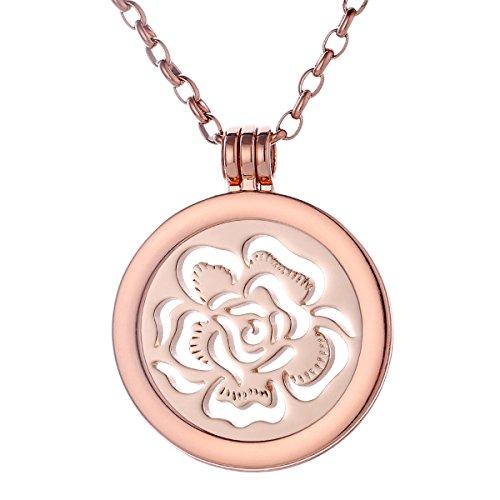 Morella Collana Donna 70 cm Acciaio Inossidabile Oro Rosa con Coins Moneta amuleto Ciondolo Rotondo 33 mm Mare di Fiori Color Oro Rosa in Sacchetto di Velluto