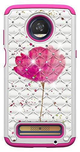 SHUNDA Capa para Moto Z3 Play, camada dupla 2 em 1, capa híbrida resistente 3D com diamantes pintados à prova de choque e proteção contra quedas para Motorola Moto Z3 Play – uma flor