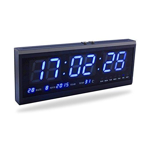 Fdit Led Reloj Digital Grande con Tiempo Calendario Fecha Y Temperatura Indicación Reloj De Escritorio para Hogar Oficina Restaurante Aeropuerto Banco Azul